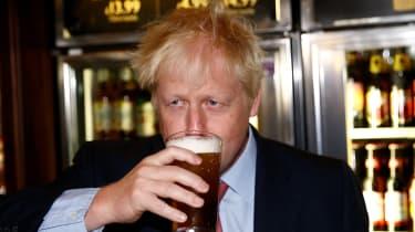 Boris Johnson on a visit to a pub