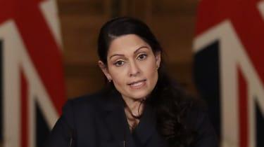 Priti Patel presents the daily Covid press briefing