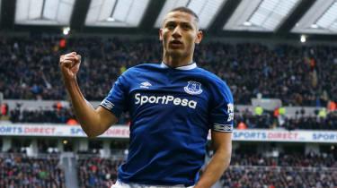 Brazilian forward Richarlison celebrates scoring for Everton against Newcastle in March