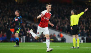 Arsenal midfielder Aaron Ramsey celebrates his goal against Napoli in the Europa League