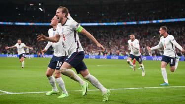 England captain Harry Kane celebrates his winning goal against Denmark