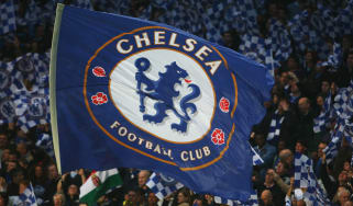Chelsea flag flies at Stamford Bridge