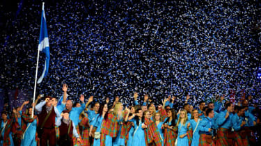 Scottish athletes enter at the Commonwealth Games in Glasgow