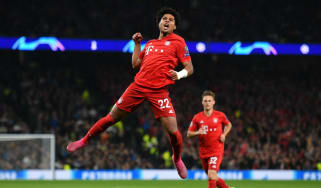 Bayern Munich star Serge Gnabry celebrates a goal against Tottenham Hotspur