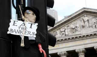 Anti-banking protest in London in 2009