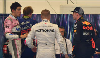 Max Verstappen (right) confronts Esteban Ocon (left) after the F1 Brazilian Grand Prix