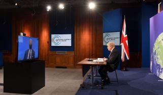 Joe Biden Boris Johnson speak over video call