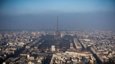 A layer of pollution hangs over Paris