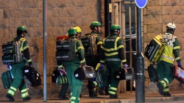 Paramedics arrive at the Manchester Arena in 2017