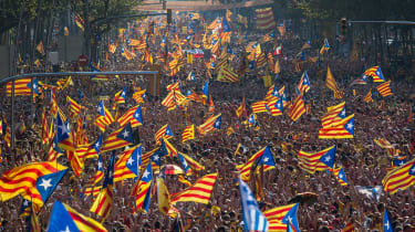 Protestors rally for Catalan independence in Barcelona