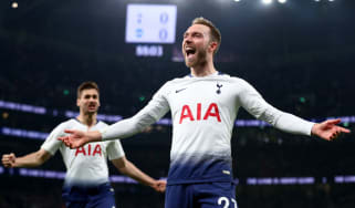 Tottenham midfielder Christian Eriksen celebrates after scoring the winning goal against Brighton