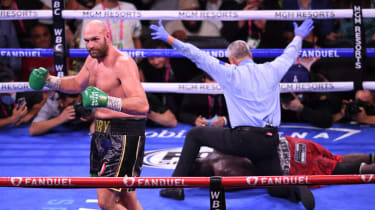 Tyson Fury celebrates his victory over Deontay Wilder in Las Vegas