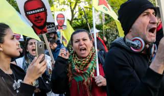 Anti-Erdogan protesters demonstrate in London