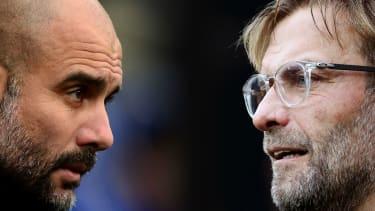 Manchester City manager Pep Guardiola and Liverpool boss Jurgen Klopp