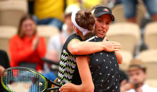 Johanna Konta congratulates Marketa Vondrousova after the French Open semi-final