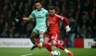 Arsenal striker Pierre-Emerick Aubameyang charged down Ben Foster to score the winner