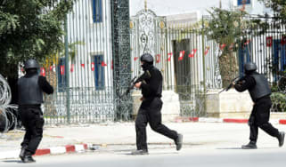 Tunisian security forces secure the Bardo Museum