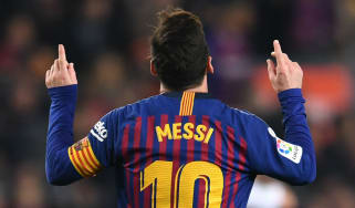 Barcelona and Argentina star striker Lionel Messi celebrates a goal in La Liga