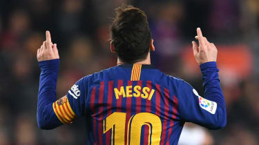Barcelona and Argentina star striker Lionel Messi celebrates a goal in La Liga