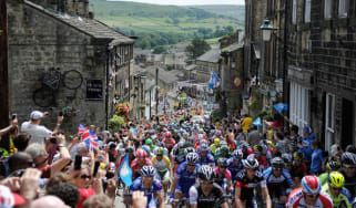 Cyclists in last year's Tour de France pass through Haworth, West Yorkshire