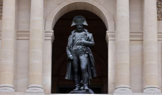 The bronze statue of Napoleon Bonaparte at the Hotel des Invalides in Paris