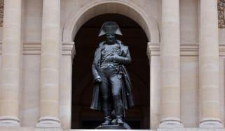 The bronze statue of Napoleon Bonaparte at the Hotel des Invalides in Paris