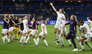 England players celebrate their World Cup quarter-final victory over Norway