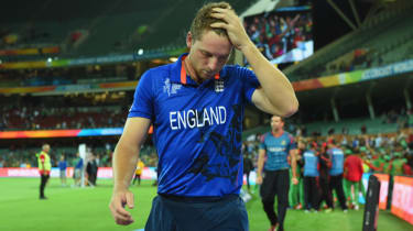 England vice captain Jos Buttler looks dejected as he leaves the field