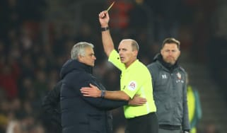 Tottenham boss Jose Mourinho was yellow carded by referee Mike Dean in the 1-0 defeat at Southampton