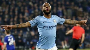 Manchester City forward Raheem Sterling celebrates the winning goal against FC Schalke 04
