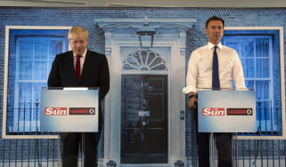 PORTSMOUTH, ENGLAND - JUNE 26: Boris Johnson and Jeremy Hunt take part in a Hustings debate hosted by the Sun/Talk Radio at Talk Radio in The News Building on July 15, 2019 in London, England