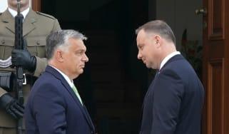 Hungarian Prime Minister Viktor Orban and his Polish counterpart Mateusz Morawiecki