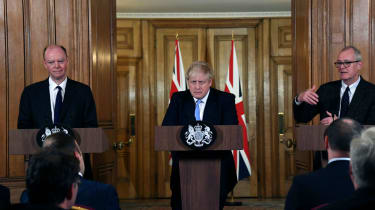 Boris Johnson with Chris Whitty, left, the UK's chief medical officer, and Patrick Vallance, the chief scientific adviser