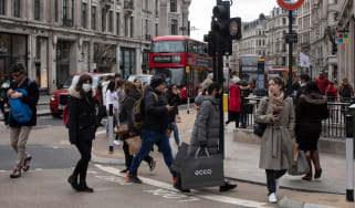 Shoppers get their retail fix on Oxford Street in London on 12 April