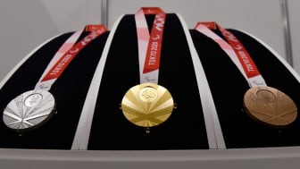 The silver, gold and bronze medals for the Tokyo 2020 Paralympic Games
