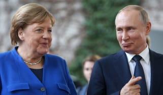 Angela Merkel and Vladimir Putin in 2020