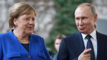Angela Merkel and Vladimir Putin in 2020