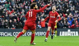 Liverpool forward Mohamed Salah celebrates scoring against Watford at Anfield