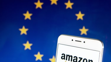HONG KONG - 2019/04/21: In this photo illustration a American electronic commerce and cloud computing company Amazon logo is seen on an Android mobile device with the European Union flag in t