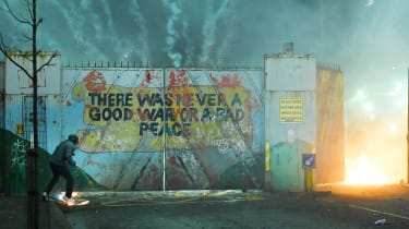 A peace barrier along Springfield Road, Belfast