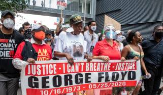 Members of George Floyd's family take part in a protest in June 2020