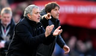 MANCHESTER, ENGLAND - FEBRUARY 25:Jose Mourinho, Manager of Manchester United and Antonio Conte, Manager of Chelsea give their teams instuctions during the Premier League match between Manche