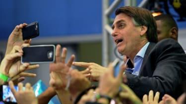 Jair Bolsonaro at his campaign launch on Sunday