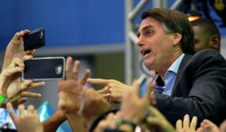 Jair Bolsonaro at his campaign launch on Sunday