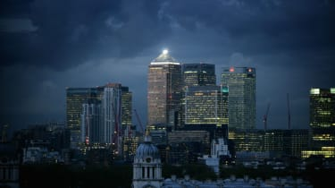 Storm clouds gather over the City of London