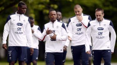 French stars Paul Pogba, Patrice Evra, Karim Benzema and Franck Ribery