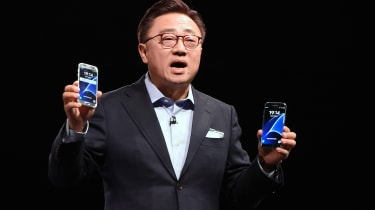 South Korean multinational conglomerate corporation Samsung's Mobile Comunications Business chief DJ Koh speaks during a press conference presenting the company's new Galaxy 7 mobile device,