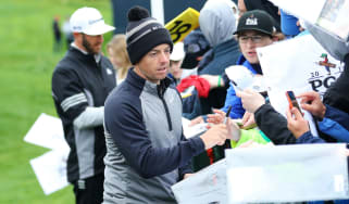 Rory McIlroy signs autographs during a practice round at the 2019 US PGA Championship