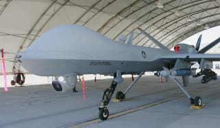 CREECH AIR FORCE BASE, NV - AUGUST 08: United States Air Force Maj. Casey Tidgewell gets an MQ-9 Reaper ready for a training flight August 8, 2007 at Creech Air Force Base in Indian Springs,