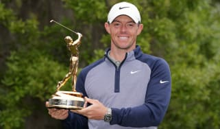 Rory McIlroy celebrates with the trophy after his win at The Players Championship at Sawgrass in 2019